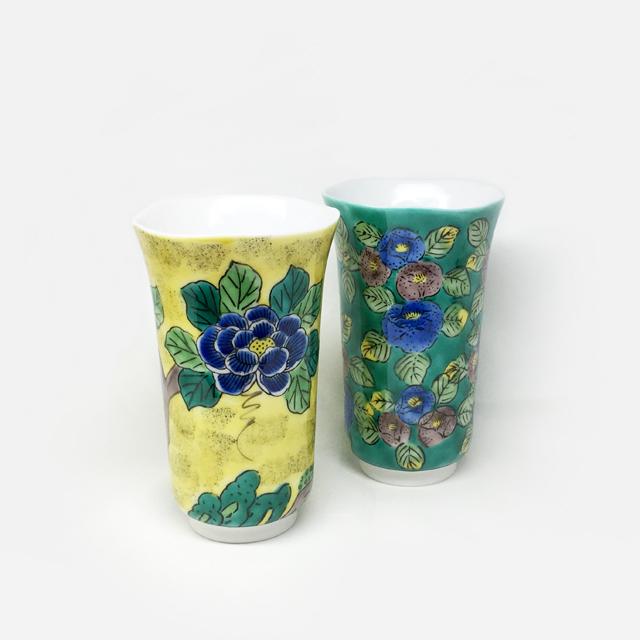 吉田屋牡丹・グリーン椿 フリーカップ