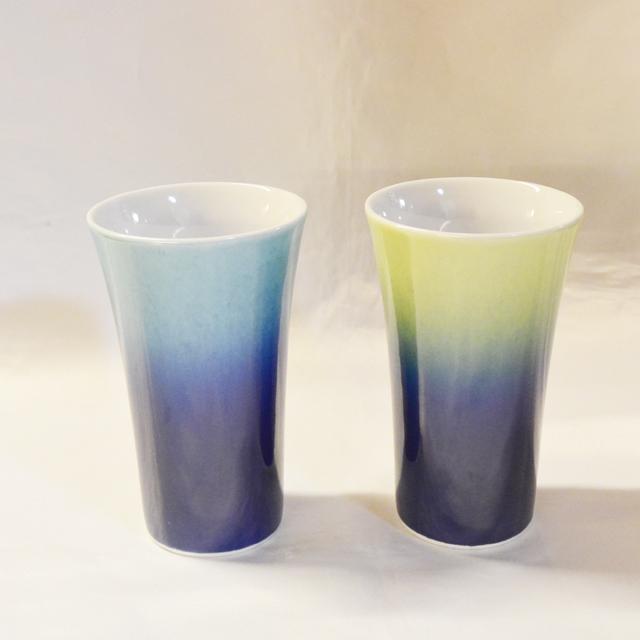 釉彩フリーカップ 水色/黄色