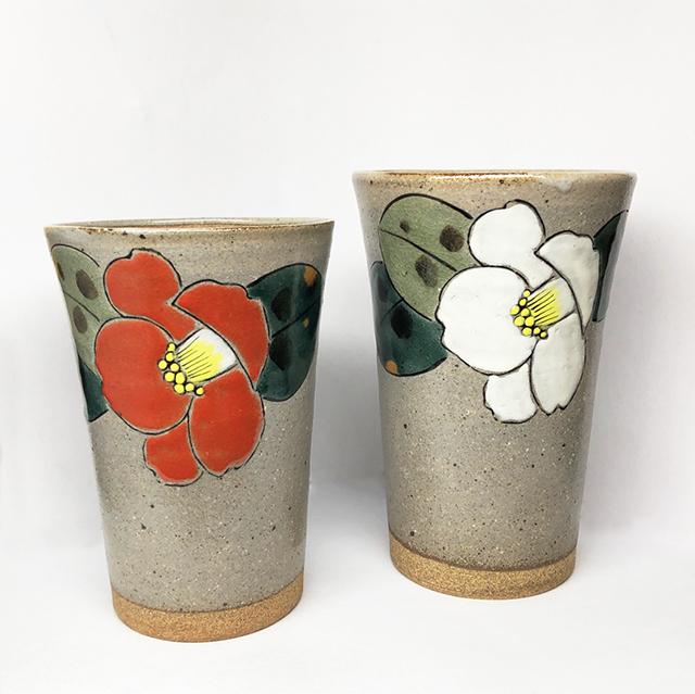 紅椿/白椿 九谷焼ビアカップ