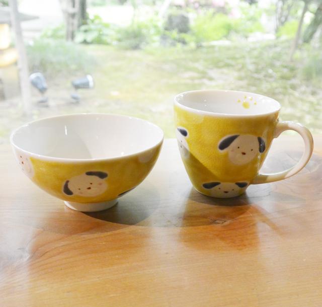 色絵工房 遊 わんわんご飯茶碗とマグカップ イエロー