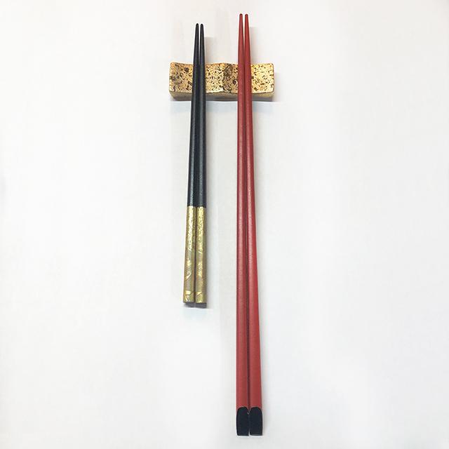 二連箸置 カトラリーレスト ゴールド&シルバー