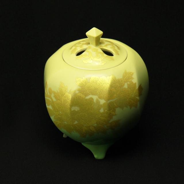 吉田美統 釉裏金彩牡丹香炉
