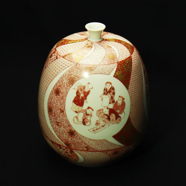 福島武山 赤絵細描遊紋飾壺