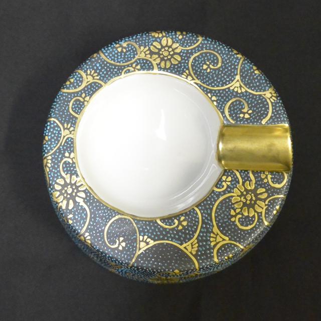 葉巻灰皿1本用佐伯信平・画 青粒 白粒
