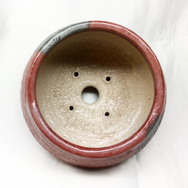泉喜仙 大樋焼ミニ盆栽鉢 赤釉 大