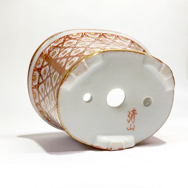 赤絵金彩籠目盆栽鉢