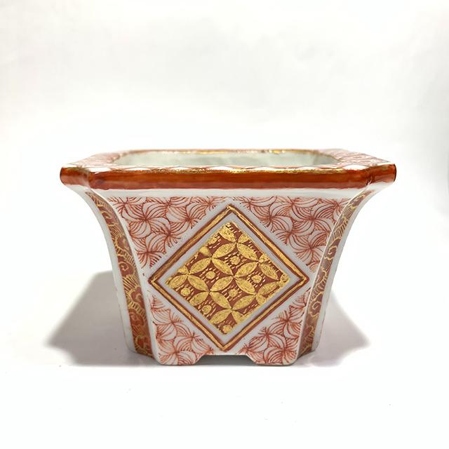 赤絵金彩小紋盆栽鉢