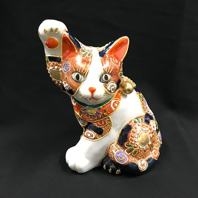 5号 横招き猫 赤盛ブチ