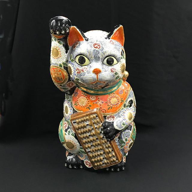 15号 そろばん猫 黒盛古銭紋
