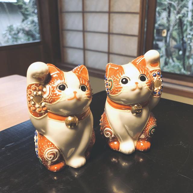 2.8号 招き猫 赤盛ぶち【Lucky cat】