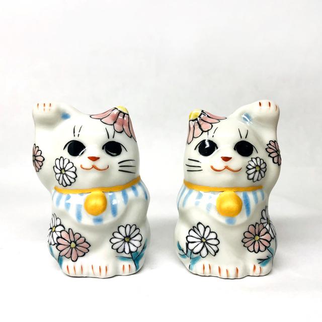 【月変わり1.5号招き猫】 4月 マーガレット【鏑木オリジナル】