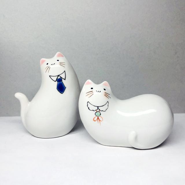猫の置物 ~紳士&淑女~ 【鏑木オリジナル】