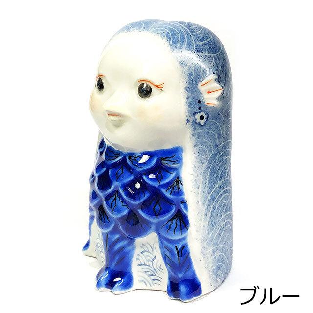 アマビエ置物 青海波 ブルー