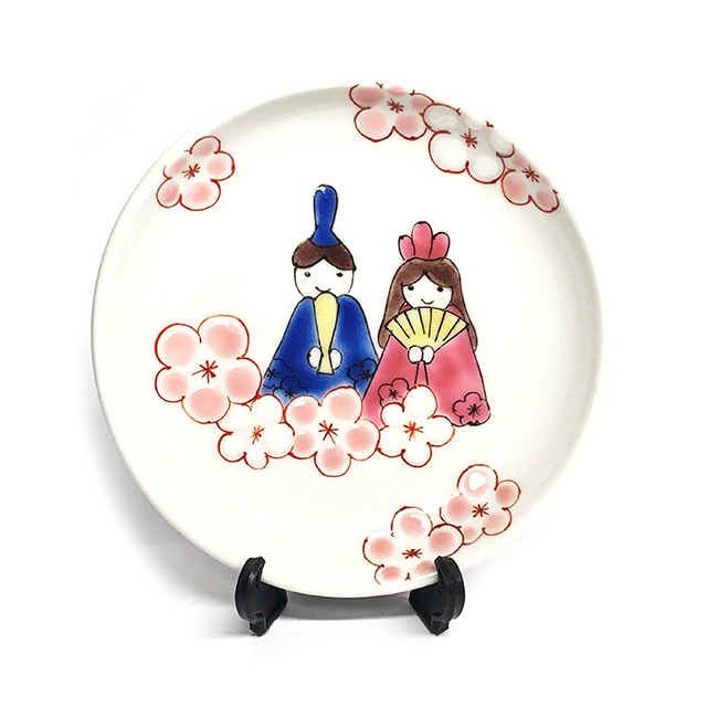 【おひな様】雛人形 丸皿(皿立て付) 【鏑木オリジナル】