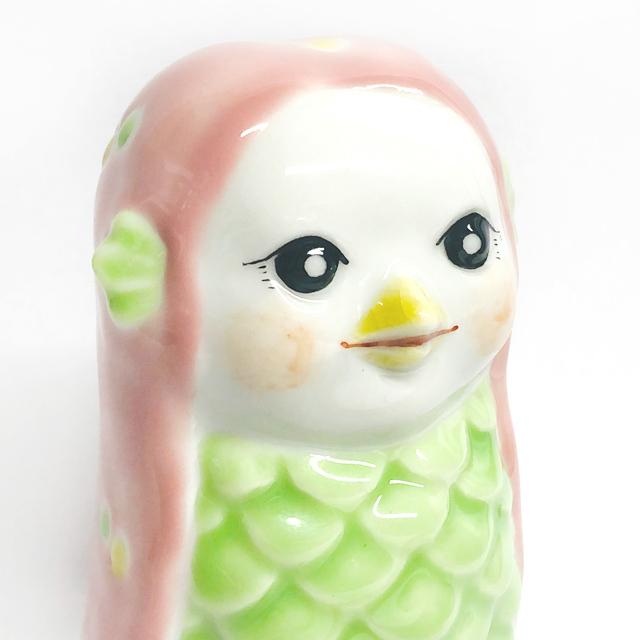 アマビエ人形置物(ピンクドット・ライトグリーンドット)