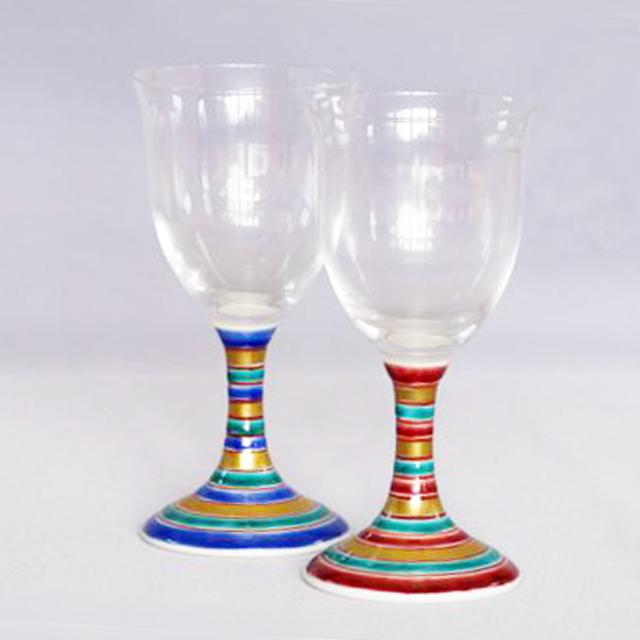 独楽(こま) ワイングラス 九谷和グラス