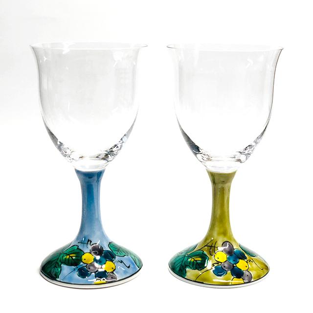 ワイングラス ぶどうブルー・アメ釉