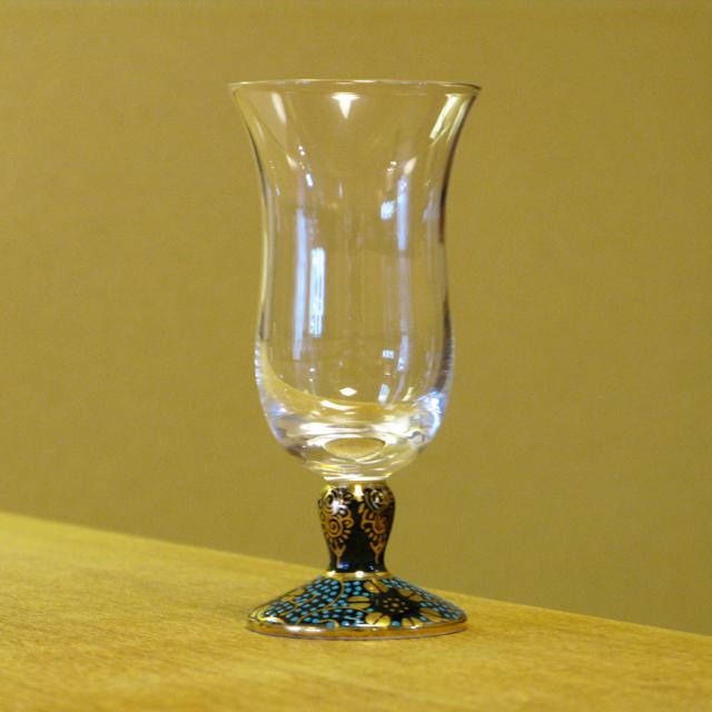 鉄仙唐草 青粒 冷酒グラス 九谷和グラス