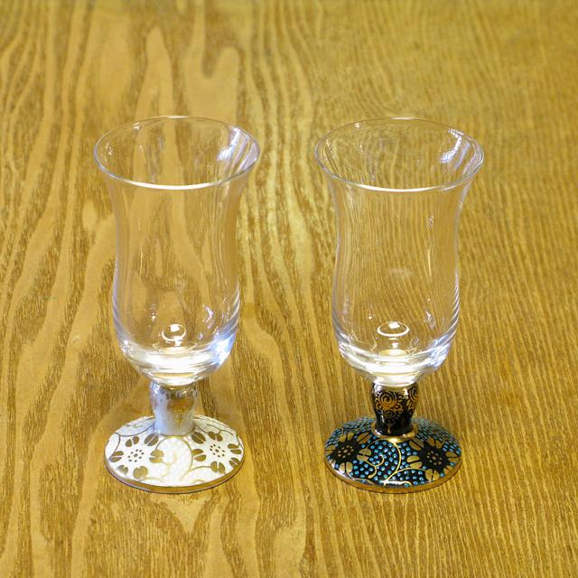 鉄仙唐草 青粒/白粒 冷酒グラス 九谷和グラス