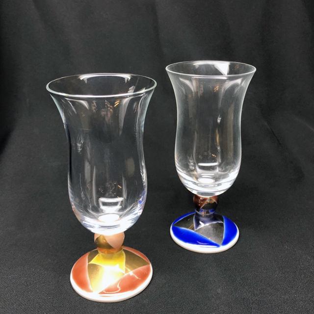 万華鏡冷酒グラス(六面切子)青粒鉄仙・白粒鉄仙