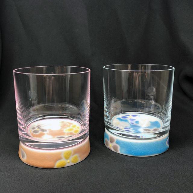 華文 ピンク・スカイブルー ロックグラス 九谷和グラス