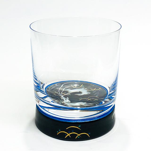 うさぎ文ブラック ロックグラス