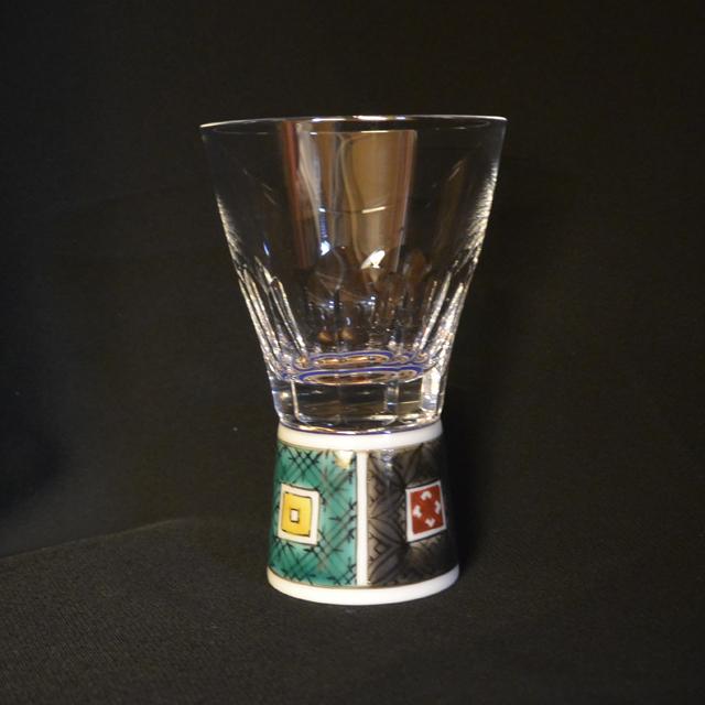 万華鏡ショットグラス(十面切子)本金花詰
