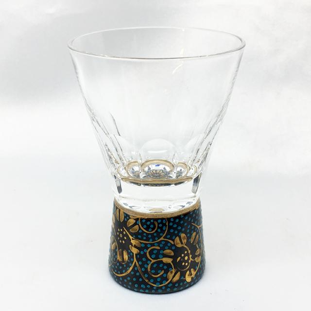 万華鏡ショットグラス(十面切子)青粒鉄仙・白粒鉄仙