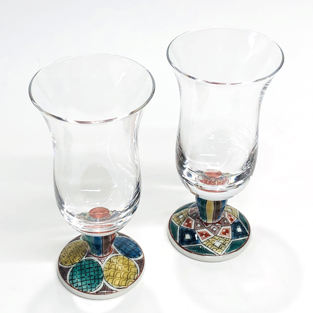 冷酒グラス 古九谷丸紋・菱紋