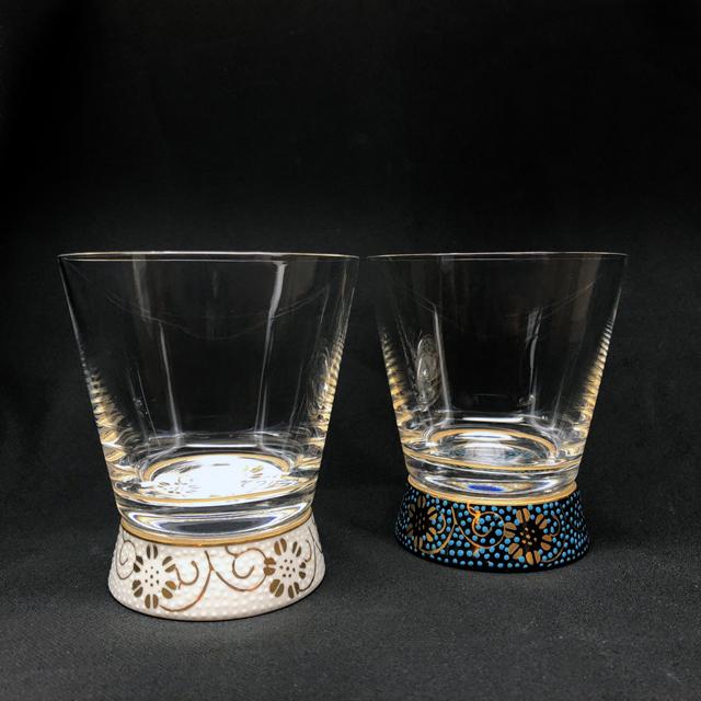 青粒鉄仙・白粒鉄仙 Vグラス 九谷和グラス