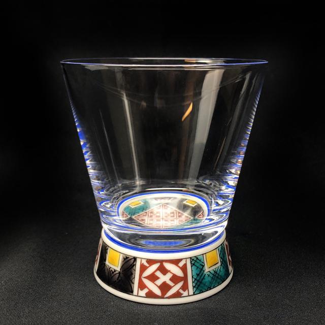 石畳(四角) Vグラス 九谷和グラス