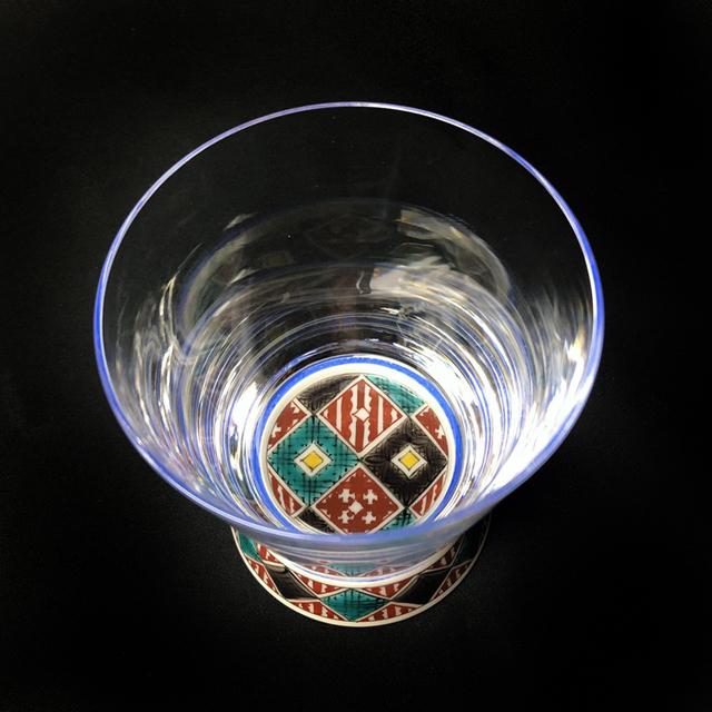 石畳(四面) Vグラス 九谷和グラス