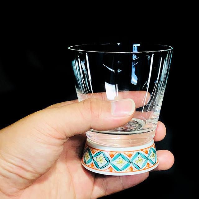 古九谷菱文 Vグラス 九谷和グラス