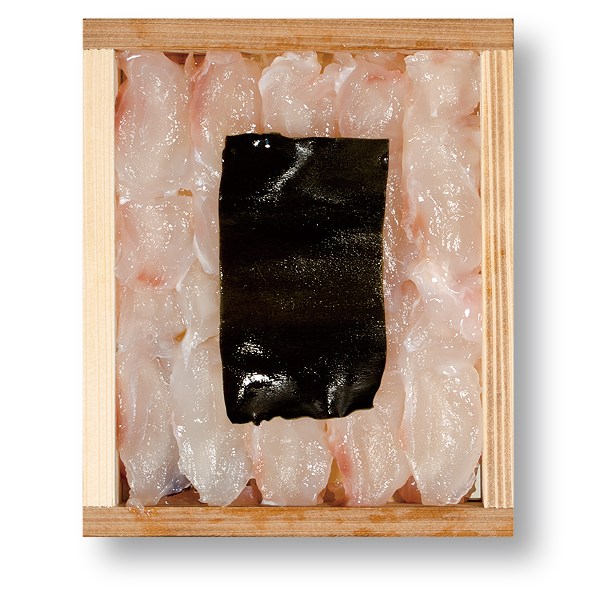 舌ひらめの昆布締め 井桁木箱入り 1個 【高電圧凍結仕様】 [_212104_]