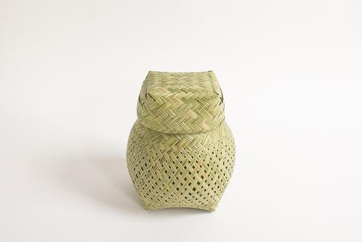 ラオス 竹 蓋つきかご