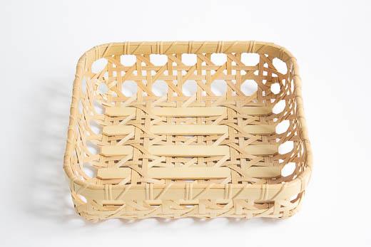 大分 真竹 八つ目 整理かご (正方形)