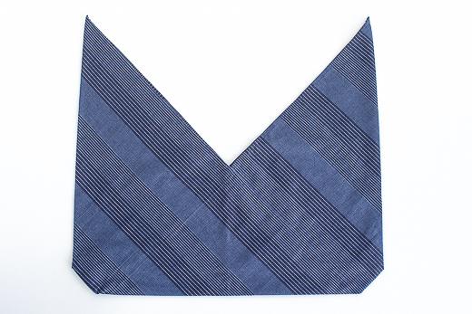 会津木綿 あずま袋 L (流れ縞)
