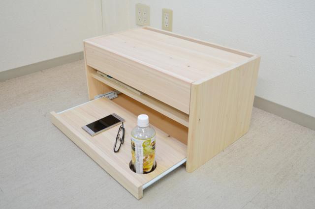ナイトテーブル ロータイプ  [ コロネ ] ヒノキ = スマホ充電に・眼鏡置き場に・枕元で活躍・布団サイドテーブル