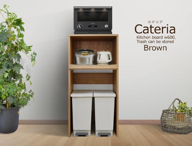 CATERIA(カテリア)ダストボックス収納レンジ台 ブラウン(幅60cm×奥行45cm×高128cm)