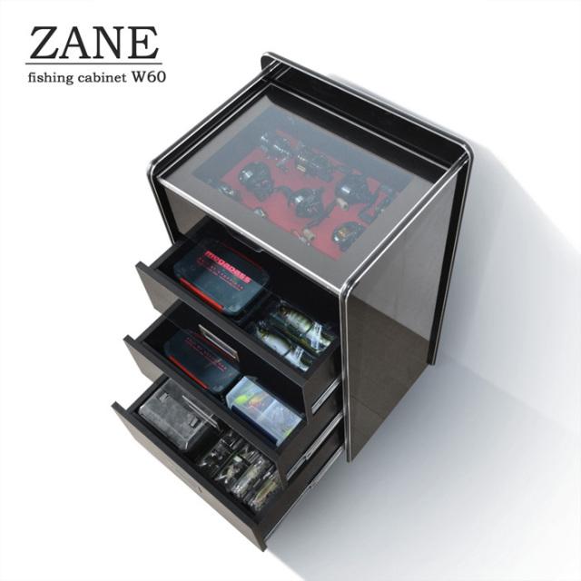 ZANE(ゼイン)リールディスプレイチェスト・シャインブラック(幅56cm×奥行40cm×高さ90cm)