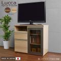 ハイタイプテレビ台 [ルッカ] 80cm幅 =ダイニングテーブルからテレビを見やすいハイタイプモダンテレビボード(ローキャスター付き)