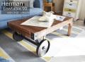 ローテーブル [ハーマン] 幅90cm = 使い込んだレトロな雰囲気がかっこいい!車輪付きローテーブル