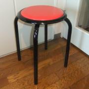【送料無料】太いパイプ使用の丸いす10脚入・赤色 日本製  丸椅子 【M-24T】