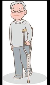 片足に体重をかけられない方 イメージ