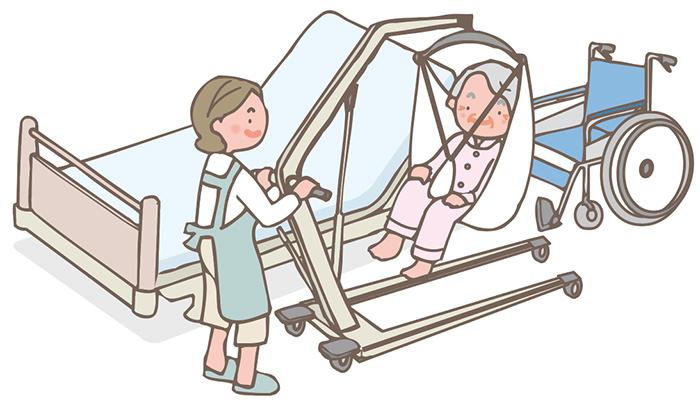 リフトを吊り上げ車いすの方へ移動 イメージ