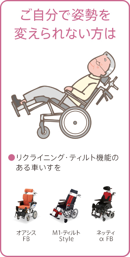 ご自分で姿勢を変えられない方は ●リクライニング・ティルト機能のある車いすを。「オアシスFB」「M1-ティルトStyle」「ネッティα FB」