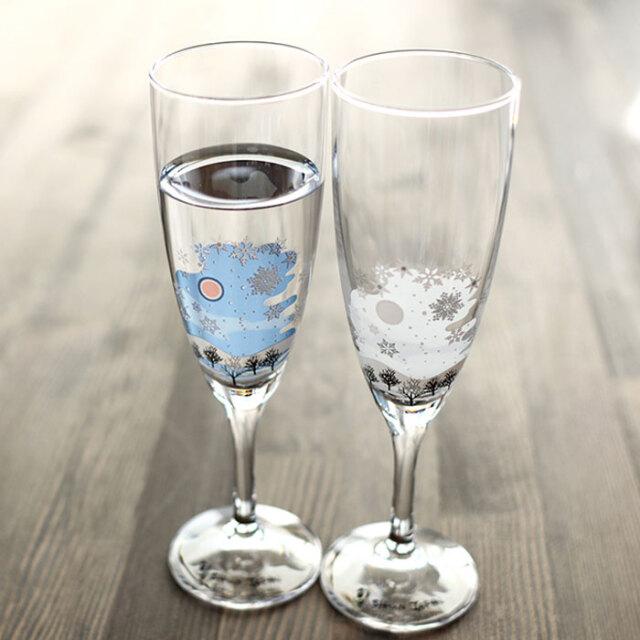 【6/20まで20%OFF】冷感雪結晶 シャンパングラス ペアセット 箱入 / 丸モ高木陶器