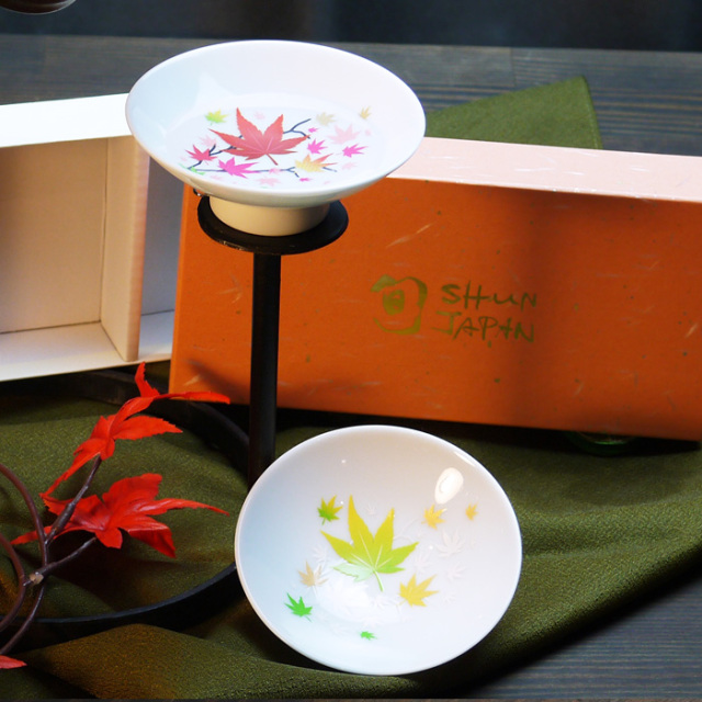 冷感紅葉 白平盃(大)ペアセット 箱入/ 丸モ高木陶器