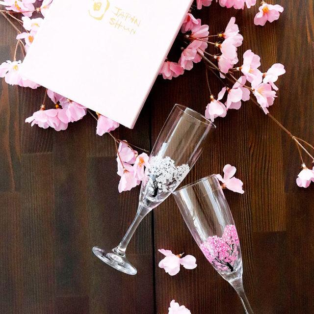 冷感桜 シャンパングラス ペアセット 箱入 / 丸モ高木陶器