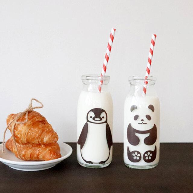 冷感ミルクボトル 牛乳スマイルグラス セット ( 200cc×2)/ 丸モ高木陶器